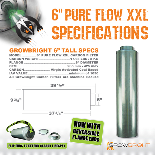 """6"""" Pure Flow XXL Carbon Filter Specifications"""