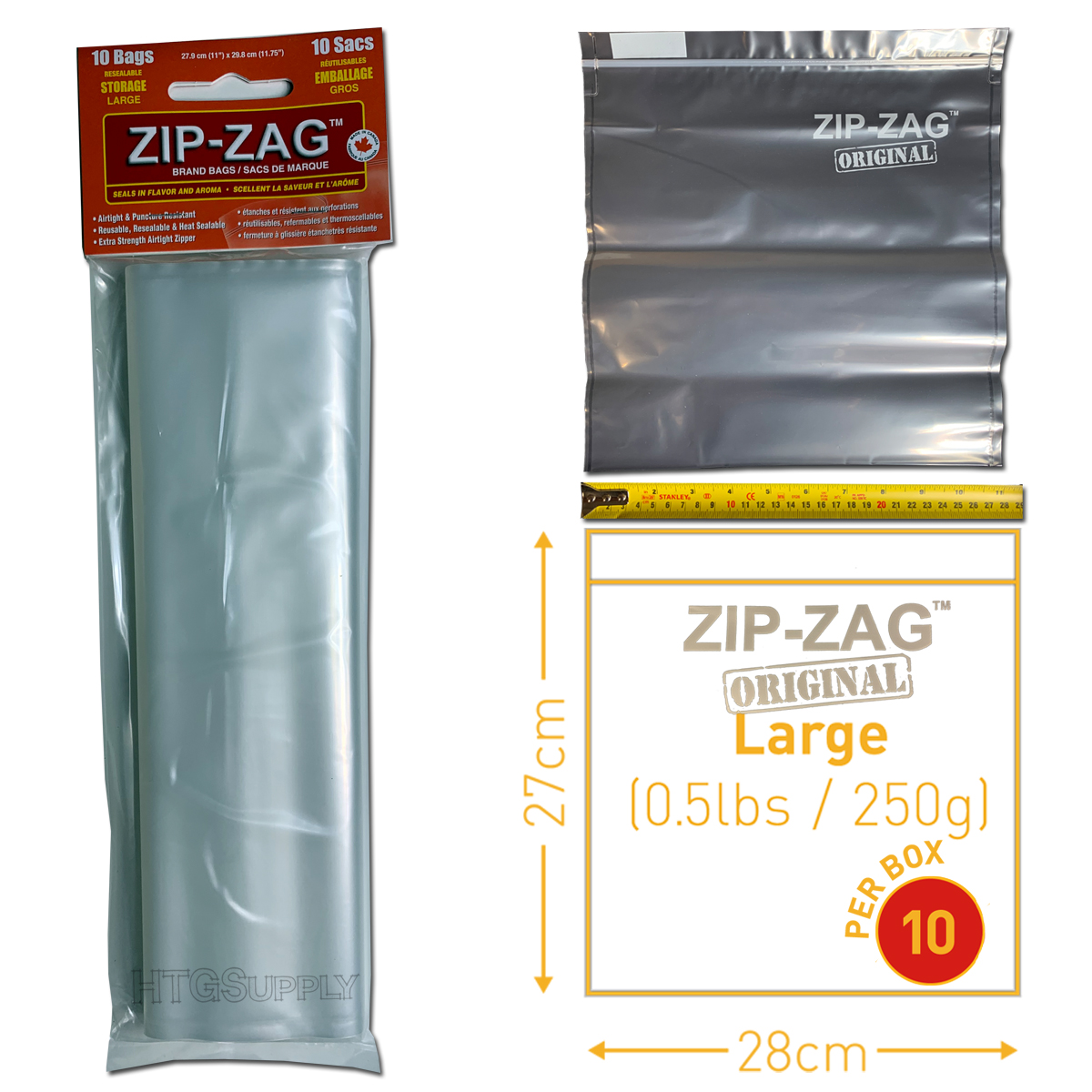 Large Zip Zag Bags – 10 Pack