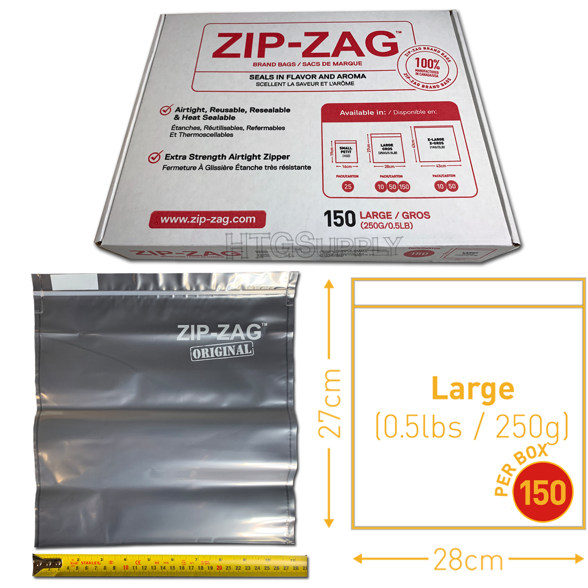 Large Zip Zag Bags – 150 Pack