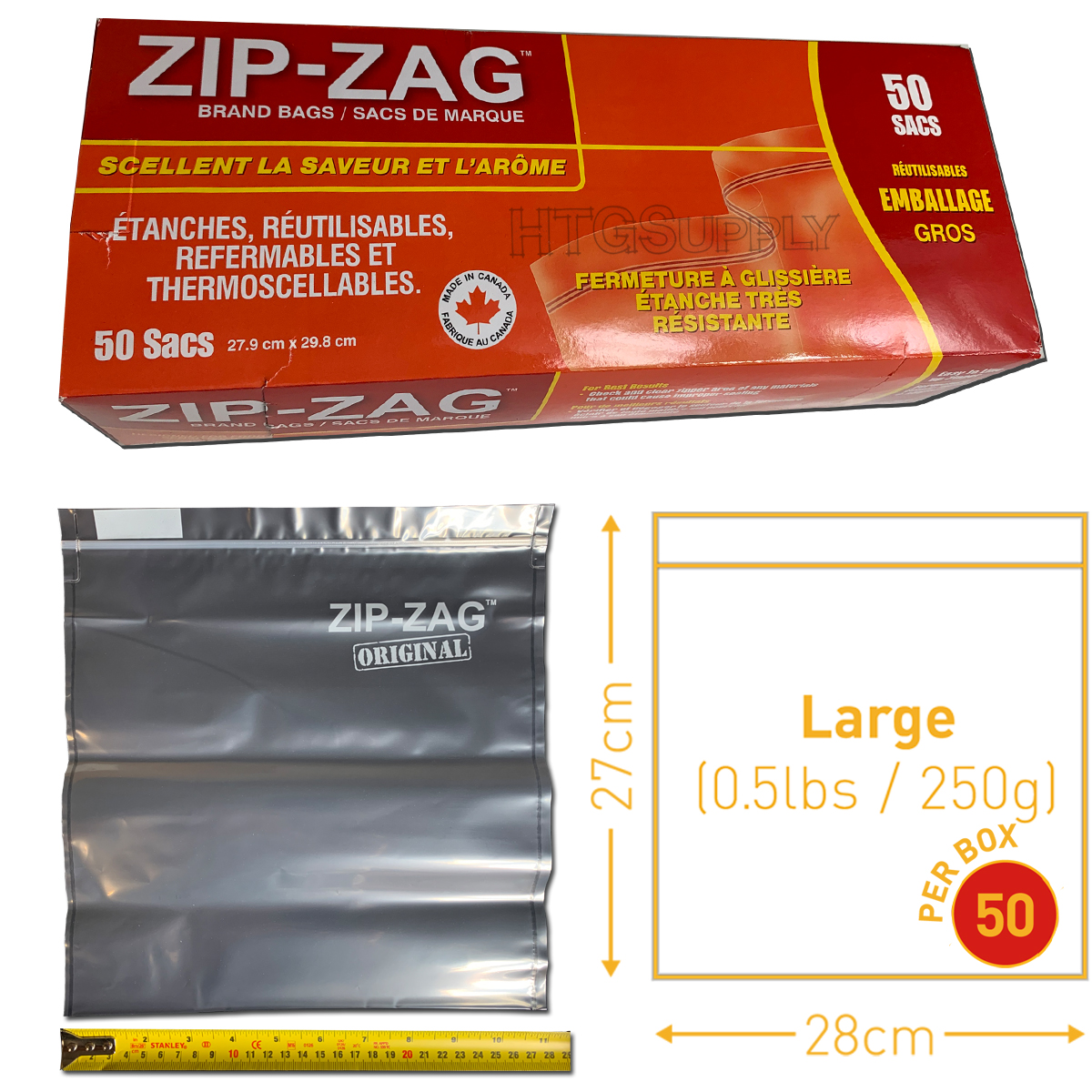 Large Zip Zag Bags – 50 Pack